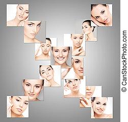 別, portraits., concept., 構造, コレクション, プラスチック, 女性, 持ち上がること, エステ, 手術, 顔