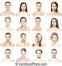 別, portraits., women., コラージュ, concept., 顔, 持ち上がること, 若い, プラスチック, 健康, メーキャップ, skincare, エステ, 手術, 顔, 美しい