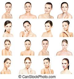 別, portraits., women., コラージュ, concept., 顔, 持ち上がること, 若い, プラスチック, 健康, 女性, メーキャップ, skincare, エステ, 手術, 顔, 美しい