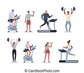 別, set., activity., 人々, コレクション, 若い, スポーツ