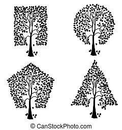 別, shapes., 幾何学的, 木