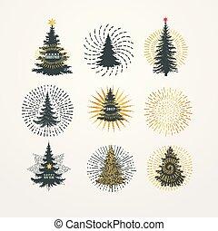 別, starburst, イラスト, ベクトル, 木, クリスマス