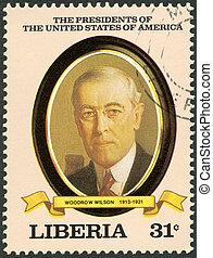 利比里亞, -, circa, 1982:, a, 郵票, 列印, 在, 利比里亞, 顯示, 總統, woodrow,...