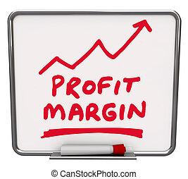 利润幅度, 词汇, 同时,, 一, 箭, 上升, 画, 在上, a, 干燥擦除板, 带, 红, 记号, 或者, 钢笔,...