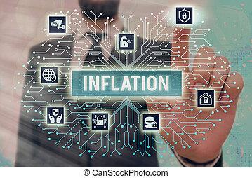 利用できる, メモ, inflation., 制御, ビジネス, 提示, showcasing, 増加, 設定, concept., 道具, 写真, 管理者, ギヤ, 形状, 商品, 親類, ボリューム, お金, システム, 執筆