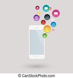 利用できる, 可動的なコミュニケーション, apps, 電話, インターネット, サービス, 痛みなさい