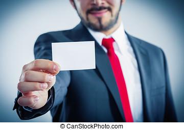利用できる, 彼の, ビジネス, コピースペース, 提示, ビジネスマン, カード