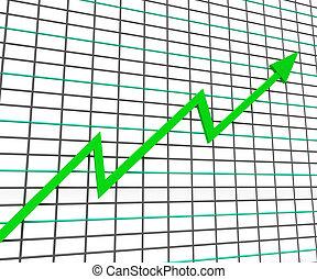 利益, グラフ, 線, 緑, ショー