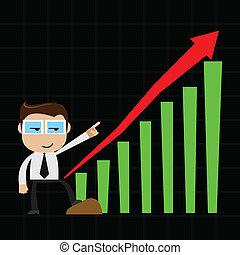 利益, ビジネスマン, チャート, ポイント