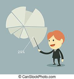利益, ビジネスマン, ポイント, チャート
