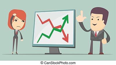 利益, 損失, 矢, ビジネス 人々