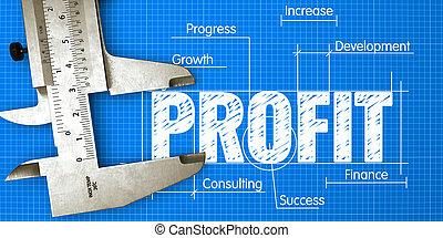 利益, 概念, caliper., measuring., 青写真, ビジネス