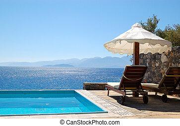 别墅, 奢侈, 希腊, crete, 池, 游泳