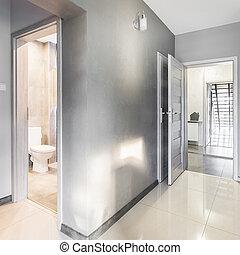 别墅, 走廊, 在中, 灰色, 想法