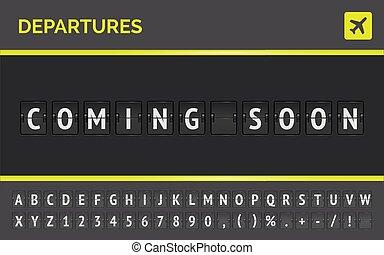 到来, 板, とんぼ返り, ターミナル, ベクトル, 空港, スコアボード, 機械, 出発, フライト, soon.