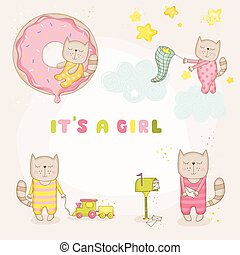到着, セット, -, ねこ, シャワー, 赤ん坊, ベクトル, カード, 女の子, ∥あるいは∥