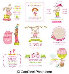 到着, セット, -, シャワー, 赤ん坊, ベクトル, デザイン, カード, スクラップブック