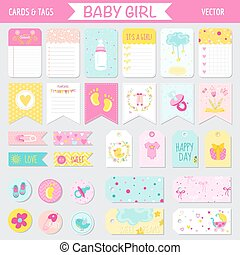 到着, タグ, セット, 旗, -, ラベル, シャワー, 赤ん坊, ベクトル, カード, 女の子, ∥あるいは∥