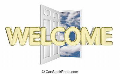 到着, ドア, ゲスト, 開始, イントロダクション, 歓迎, イラスト, 3d