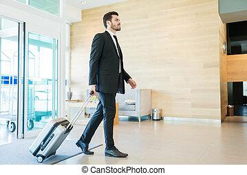到着, 企業家, ホテル, マレ, 手荷物