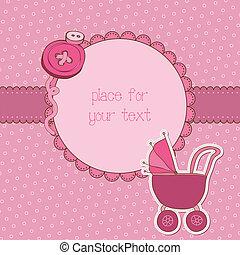 到着, 写真フレーム, ベクトル, 場所, テキスト, 女の赤ん坊, あなたの, カード