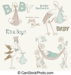 到着, 男の子, セット, シャワー, 型, -, 招待, 赤ん坊, 要素, デザイン, スクラップブック, カード, doodles