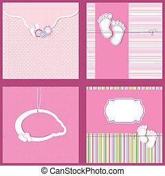 到着, 発表, セット, card., 型, 女の赤ん坊