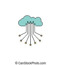 制御, アイコン, スタイル, 漫画, 雲
