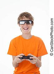 制御, ゲーム, 3d, 遊び, 子供