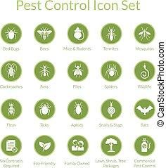 制御, セット, 害虫, アイコン