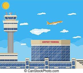 制御, ターミナル, 空港, 建物, タワー