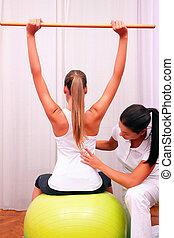 制御, ボール, 安定, bobath, fitball, トランク, 練習, 洗面器