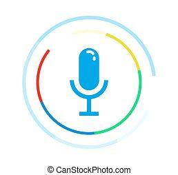 制御, マイクロフォン, concept., 適用, ベクトル, ロゴ, icon., 声