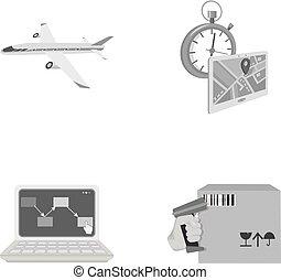 制御, ロジスティクス, スタイル, セット, アイコン, 出産, シンボル, 航空機, web., 等大, コレクション, 時間, コンピュータ, 会計, イラスト, 会計, モノクローム, goods., ベクトル, 輸送, 株
