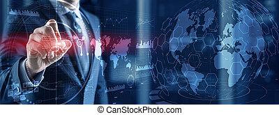 制御, 人, 3d, 事実上, 書く, 地球, ホログラム, インターフェイス, 未来派, 知性, whiteboard, ビジネス, dashboard., パネル, hud, 地球