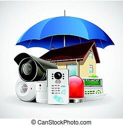 制御, 傘, 家, -, システム, アクセス, 保護される, 家 保証