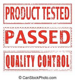制御, 切手, セット, テストをした, プロダクト, 品質
