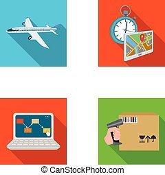 制御, 平ら, スタイル, セット, アイコン, 出産, シンボル, 航空機, web., 等大, コレクション, 時間, コンピュータ, 会計, イラスト, ロジスティクス, 会計, goods., ベクトル, 輸送, 株
