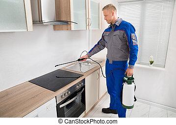 制御, 暖炉内部の棚, 殺虫剤, 労働者, スプレーをかける, 害虫, 誘導