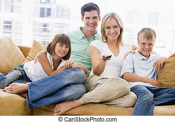 制御, 暮らし, リモート, 部屋, 家族, モデル, 微笑