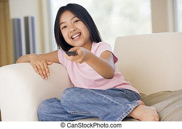 制御, 暮らし, リモート, 部屋, 若い女の子の微笑