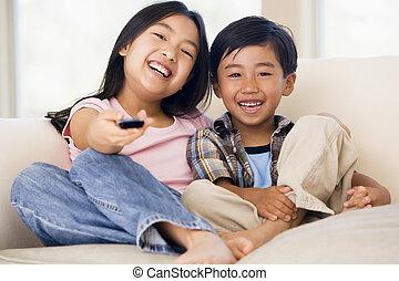 制御, 暮らし, リモート, 部屋, 2, youngchildren, 微笑