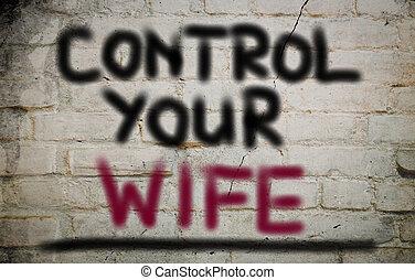 制御, 概念, あなたの, 妻