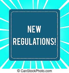 制御, 概念, 作られた, 政府, 規則, テキスト, 意味, regulations., 何か, 新しい, 手書き, done., 順序