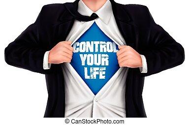 制御, 生活, 彼の, ワイシャツ, 提示, 下に, 言葉, ビジネスマン, あなたの