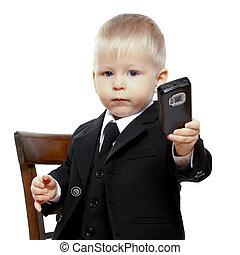 制御, 男の子, 上に, 電話, スーツ, 持つ