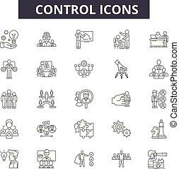 制御, 網, 概念, アウトライン, アイコン, モビール, editable, ストローク, イラスト, 線, signs., design.