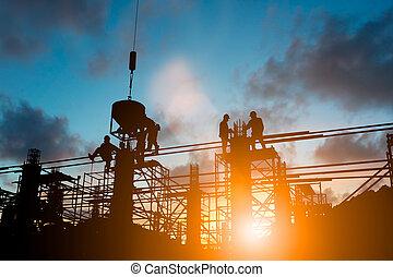 制御, 重い, 上に, シルエット, ビジネス, concept., 仕事, 自然, 契約, 標準, 一致する, 安全, 背景, 日没, ぼんやりさせられた, pastel., 産業, エンジニア