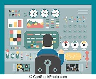 制御, 開発, 概念, 平ら, 勉強しなさい, 仕事, 分析, 科学者, 生産, デザイン, イラスト, 前部, ビジネスマン, パネル