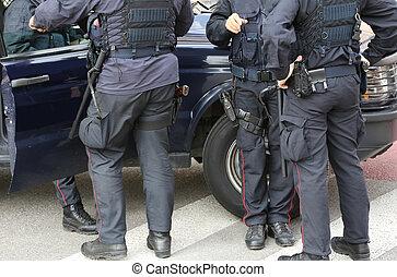 制御, terro, ギヤ, 暴動, f, 警官, 道路封鎖ブロック, の間